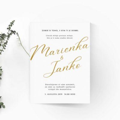 Jednoduché svadobné oznámenie so simuláciou zlatotlače na výraznej typografii s jemne glamour hlavným fontom.