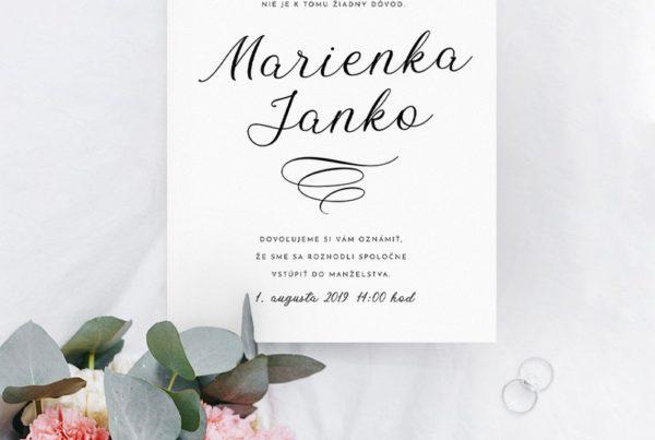 Jednoduché svadobné oznámenie JSO37