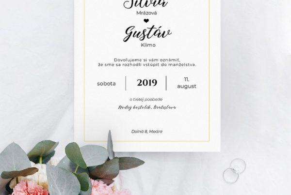Jednoduché svadobné oznámenie JSO46