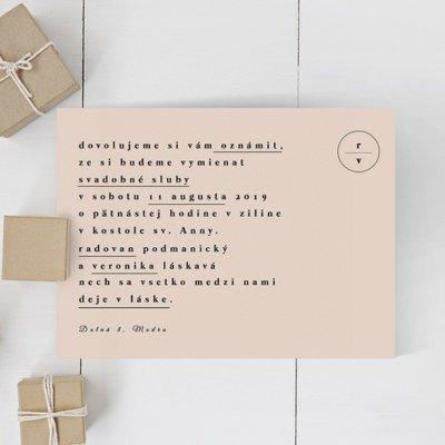 Jednoduché svadobné oznámenie JSO56