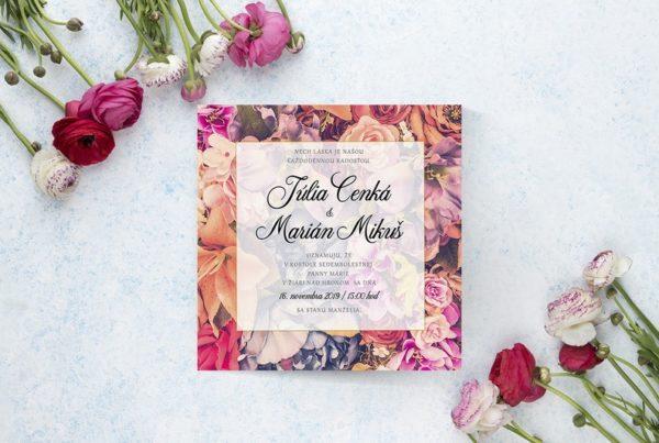 Kvetinové svadobné oznámenie KSO51