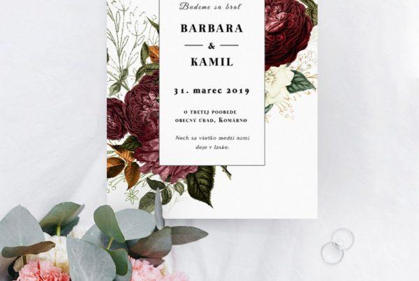 Kvetinové svadobné oznámenie KSO58