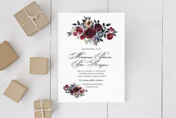 Kvetinové svadobné oznámenie KSO70