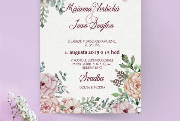 Kvetinové svadobné oznámenie KSO74
