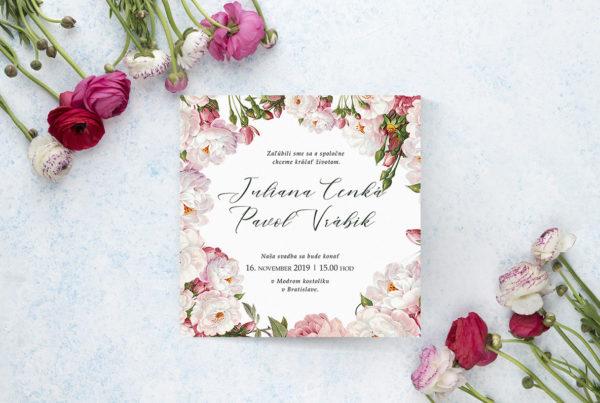 Kvetinové svadobné oznámenie KSO86