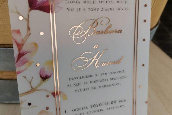 transparentne svadobne oznamenie