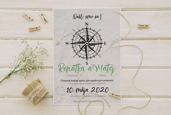 kreativne svadobne oznamenie kompas